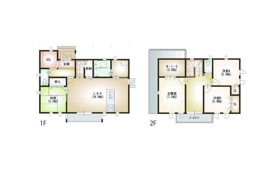 間取り<br /> <br /> 1階床面積/62.00㎡(18.75坪)2階床面積/54.00㎡(16.33坪)<br /> 延床面積/116.00㎡(35.09坪)工事面積/125.00㎡(37.81坪)<br /> 土地面積222.70㎡(67.36坪)