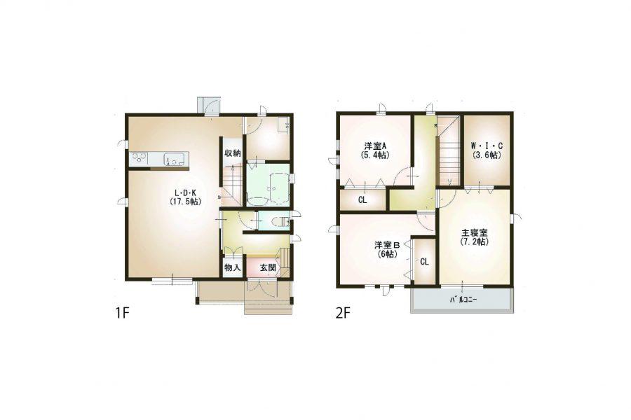 間取り<br /> <br /> 1階床面積/49.00㎡(14.82坪)2階床面積/49.00㎡(14.82坪)<br /> 延床面積/98.00㎡(29.64坪)工事面積/107.00㎡(32.36坪)<br /> 土地面積212.65㎡(64.32坪)